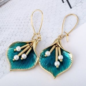 Gold/Teal Calla Lilly Ear Wire Earrings